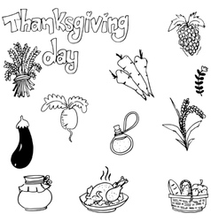 Doodle of vegetable thanksgiving vector image