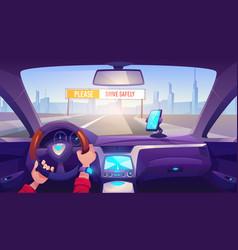 Driver hands on car steering wheel auto interior vector