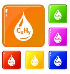drop oil icons set color vector image