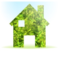 Eco house icon with green leaves EPS10 vector image