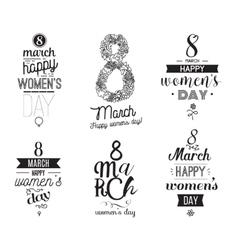 Eight march typographic design set Happy womens vector image