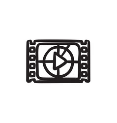 film strip with play button sketch icon vector image