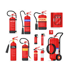 Fire extinguisher firefighter equipment isolated vector