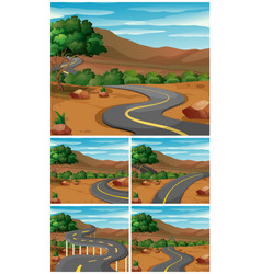 five scenes with road to the mountains vector image
