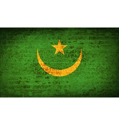 Flags Mauritania with dirty paper texture vector image