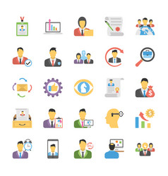 flat icons pack of human resources vector image