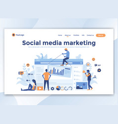 flat modern design wesite template - social vector image