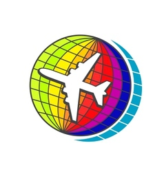Flying airplane on earth globe vector