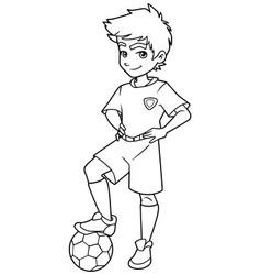 football boy standing line art vector image