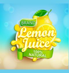 fresh lemon juice splash logo on bokeh background vector image