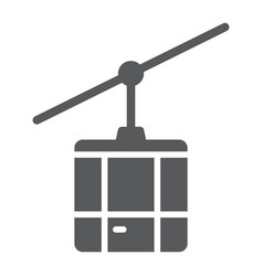 Funicular glyph icon travel and tourism cableway vector