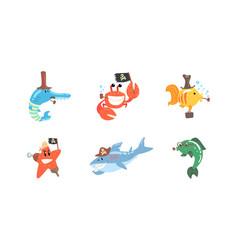 Funny pirates sea creatures characters set cute vector