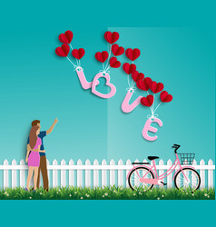 garden of love with couple on green background vector image