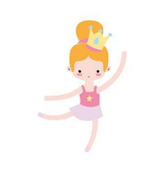 Girl practice ballet with bun hair design and vector
