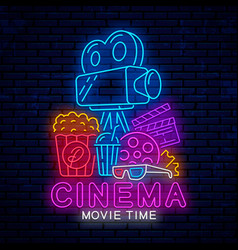 Glowing neon sign for cinema vector