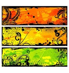 grunge floral banners set vector image