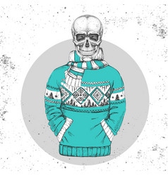 Hand drawing hipster skull with pullover vector