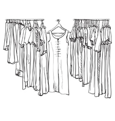 Hand drawn clothes for women on hangers vector