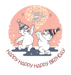 Happy birthday card with two cute bears vector