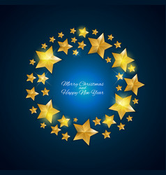 Happy new year and christms background with golde vector