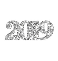 happy new year silver number 2019 silvery glitter vector image