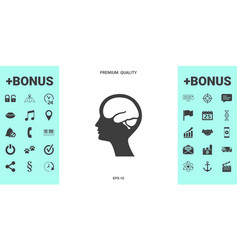head with brain symbol icon vector image
