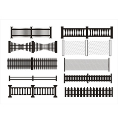 Icons of different kinds of fence vector image