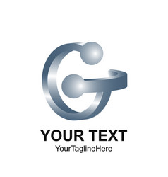 initial letter g logo template colored grey 3d vector image