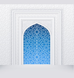Islamic design white arch with ornate doors vector