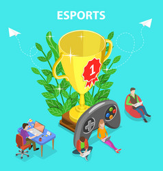 isometric flat concept esports vector image