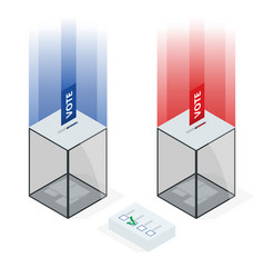Isometric transparent ballot box with voting paper vector