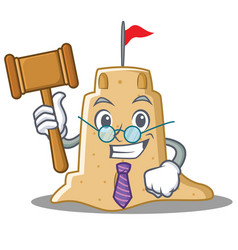Judge sandcastle character cartoon style vector
