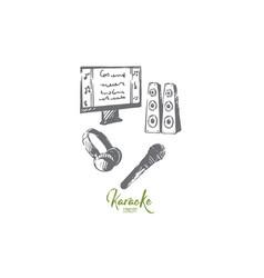 karaoke accessories music microphone earphone vector image