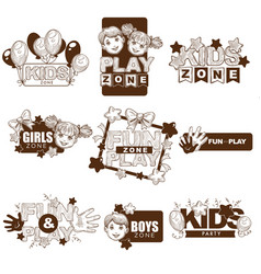 Kids zone playground sketch icons vector