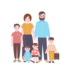 Large happy family portrait smiling mother vector