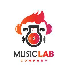 modern music laboratory logo design vector image