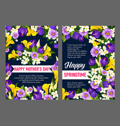 Mother day holiday greeting card of spring flower vector