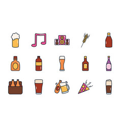 Musical note and liquor bottles icon set line vector