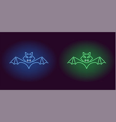 neon bat in blue and green color vector image