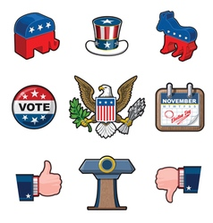 Nine American Elections Icons vector image