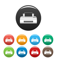 old printer icons set color vector image