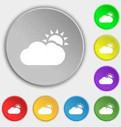 Partly Cloudy icon sign Symbol on eight flat vector