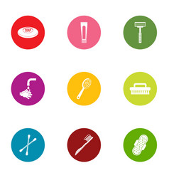 personal hygiene icons set flat style vector image