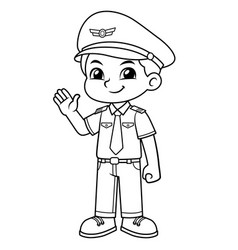 Pilot boy friendly welcoming pose bw vector