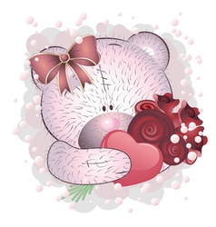 Pink bear with roses vector image