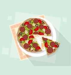 pizza on blue background vector image