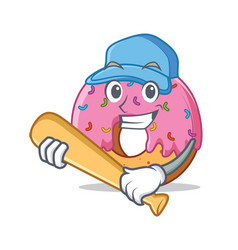 Playing baseball donut character cartoon style vector