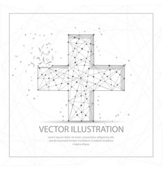 Plus or cross digitally drawn low poly wire frame vector