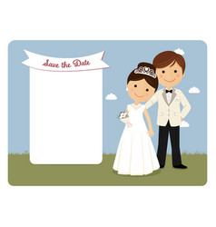 Princely style couple for wedding invitation on vector