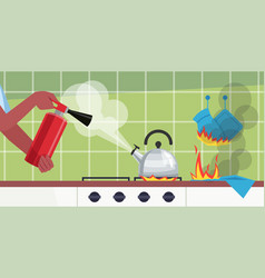 Putting out fire in kitchen table semi flat vector